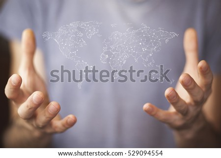 Businessman holding world map hands stock photo 529094554 businessman holding world map in hands gumiabroncs Images