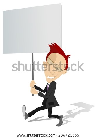 Businessman holds a banner in his hands  - stock photo