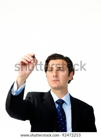 Businessman holds a marker and writes in air, suitable to add your own graph - stock photo