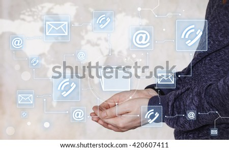 Businessman holds button file virtual network mail