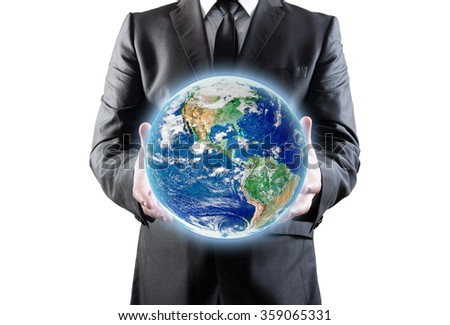 Businessman holds earth in a hands. Clipping patch. Elements of this image furnished by NASA - stock photo