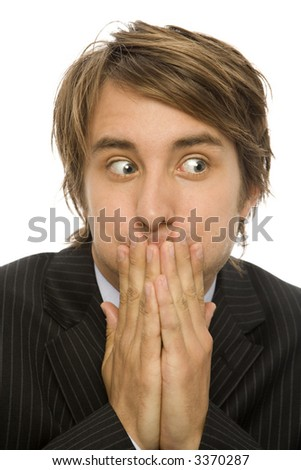 Businessman holds his breath - stock photo
