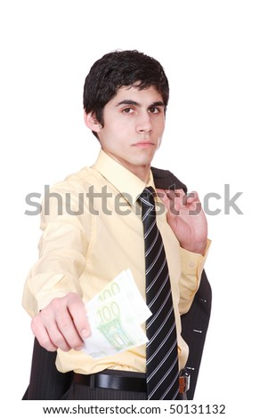 businessman holds money in a hand over white background