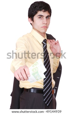 businessman holds money in a hand over white background selective focus