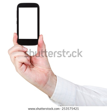 businessman holds touchscreen phone with cut out screen isolated on white background - stock photo