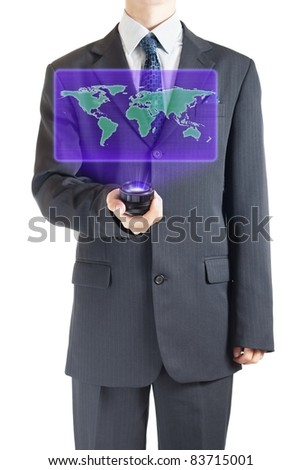 Businessman holographic projection of Earth map. - stock photo
