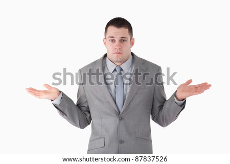 Businessman ignoring the answer against a white background - stock photo