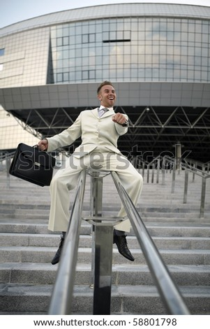 businessman imagined from itself equestrian - stock photo