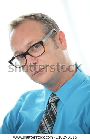 Businessman in a blue shirt - stock photo