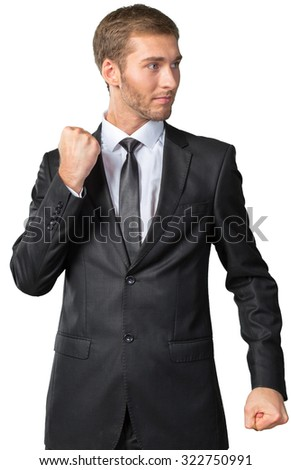 Businessman in a defensive position