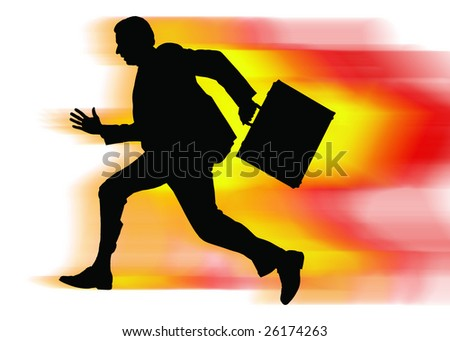 Businessman in a hurry - stock photo