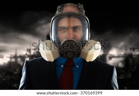 Businessman in a polluted post atomic world - stock photo