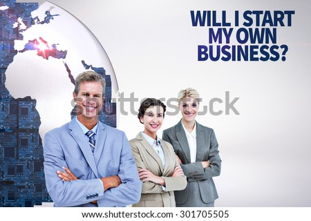 Businessman in a row with his business team against grey background - stock photo