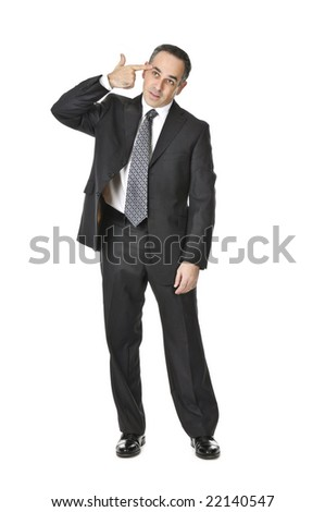 Businessman in a suit gesturing suicide isolated on white background - stock photo