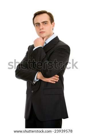 Businessman in a suit. Isolated on white. - stock photo