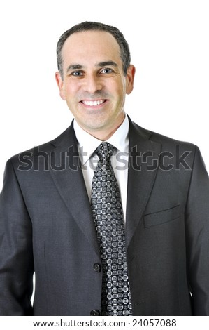 businessman in a suit isolated on white background - stock photo