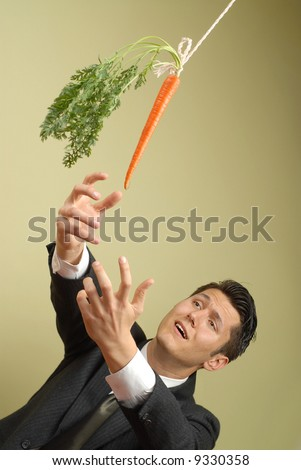 Businessman in a suit reaching for a carrot on a stick - stock photo