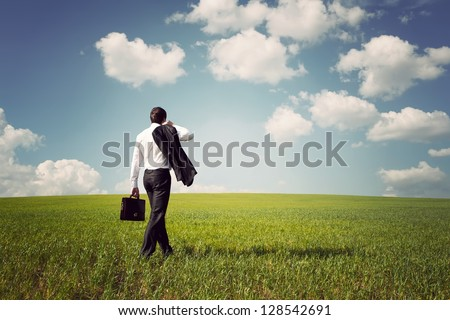 businessman in a suit with a briefcase walking on a spacious green field with a blue sky - stock photo