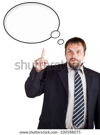 Businessman in a suit with a raised index finger isolated on white background. Speech bubble at the top of the photo for your text - stock photo