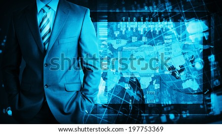 Businessman in a suit with background of microcircuit. Computer technology concept - stock photo