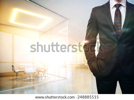 Businessman in a sunny office - stock photo