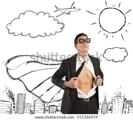 Businessman in action like a super hero - stock photo