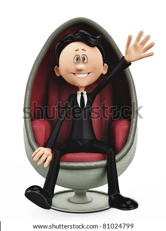 businessman in an egg chair - stock photo