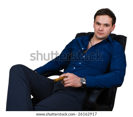 businessman in armchair isolated over white with clipping path - stock photo