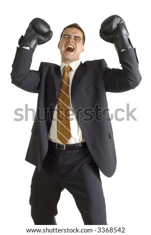 Businessman in black boxing gloves, isolated on white in studio. Jump for joy, front side - stock photo