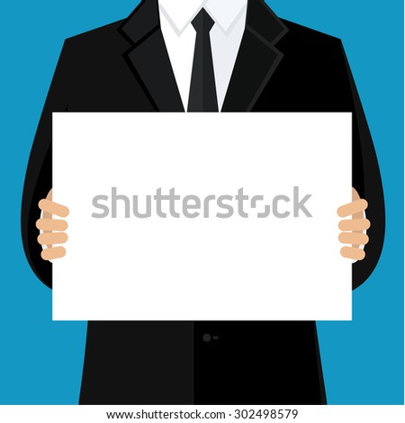 Businessman in black suit holding blank banner. Flat design. - stock photo