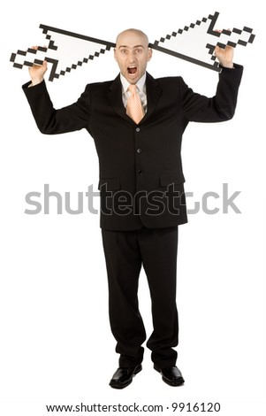 Businessman in black suit holding two mouse cursors pointing at his head.