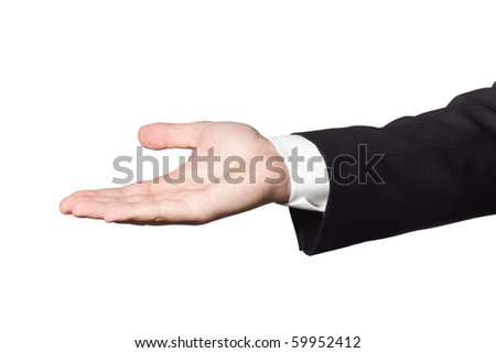 Businessman in black suit showing empty hand