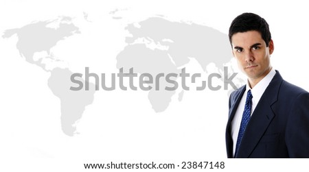 businessman in blue suit with world map