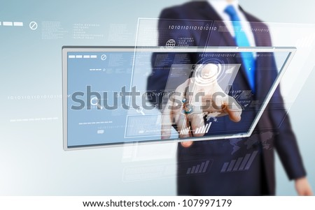 Businessman in blue suit working with digital vurtual screen - stock photo
