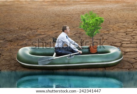 businessman in boat rocks look bright future symbol save alone tree crisis stagnation losses braking difficulties environmental disaster water scarcity drought man will rows home for shore in boat