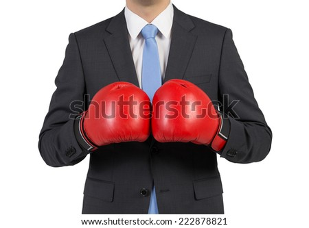 Businessman in boxing gloves, isolated on white background.