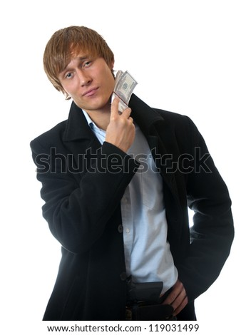 businessman in coat with money