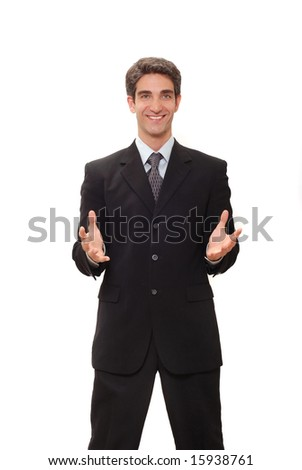 Businessman in dark suit giving a speech