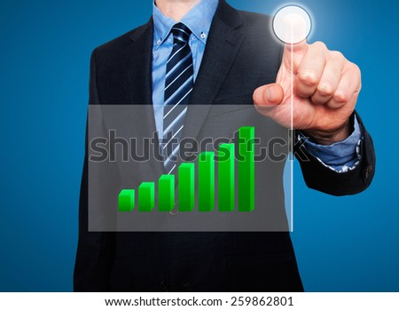 Businessman in dark suit pushing button, visual screen Growth graph going up. Blue - Stock Photo - stock photo