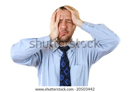Businessman in depression with hands on head, isolated over white - stock photo