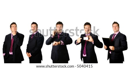 Businessman in different emotion, ideal for versatility concept in office work environment - stock photo