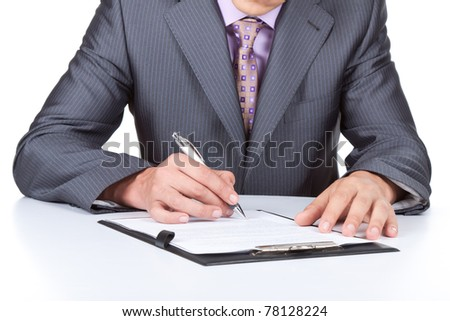 Businessman in elegant suits working with documents sign up contract isolated over white background