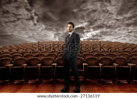 businessman in empty conference room - stock photo
