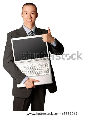 businessman in expensive suit with open laptop shows welldone - stock photo