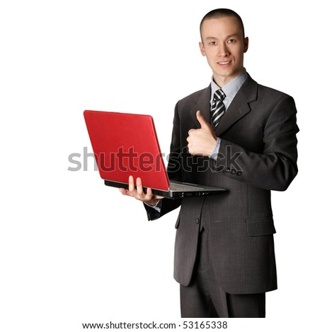businessman in expensive suit with red laptop - stock photo