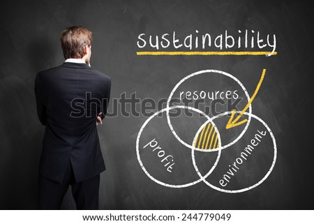 businessman in front of a diagram about sustainability - stock photo