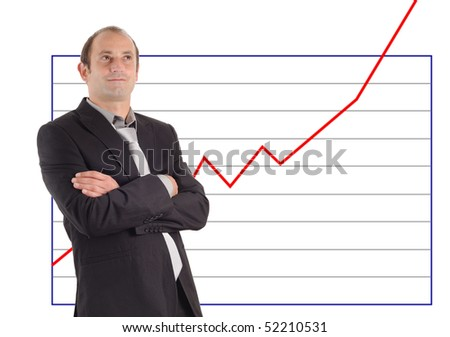 businessman in front of a rising graph chart - stock photo