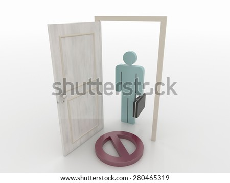 Businessman in Front of an Open Door with Access Denied Symbol, 3D Render - stock photo
