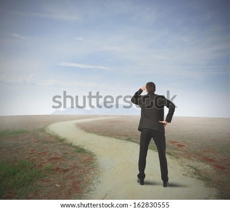 Businessman in front of long way to the career