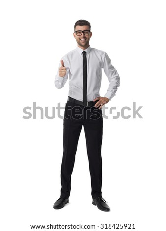 Businessman in glasses thumbs up portrait isolated on white background  - stock photo